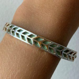 Silver Turquoise Real Leather Chevron Adjustable..